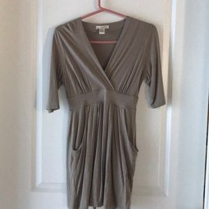 Tunic dress taupe color with pockets